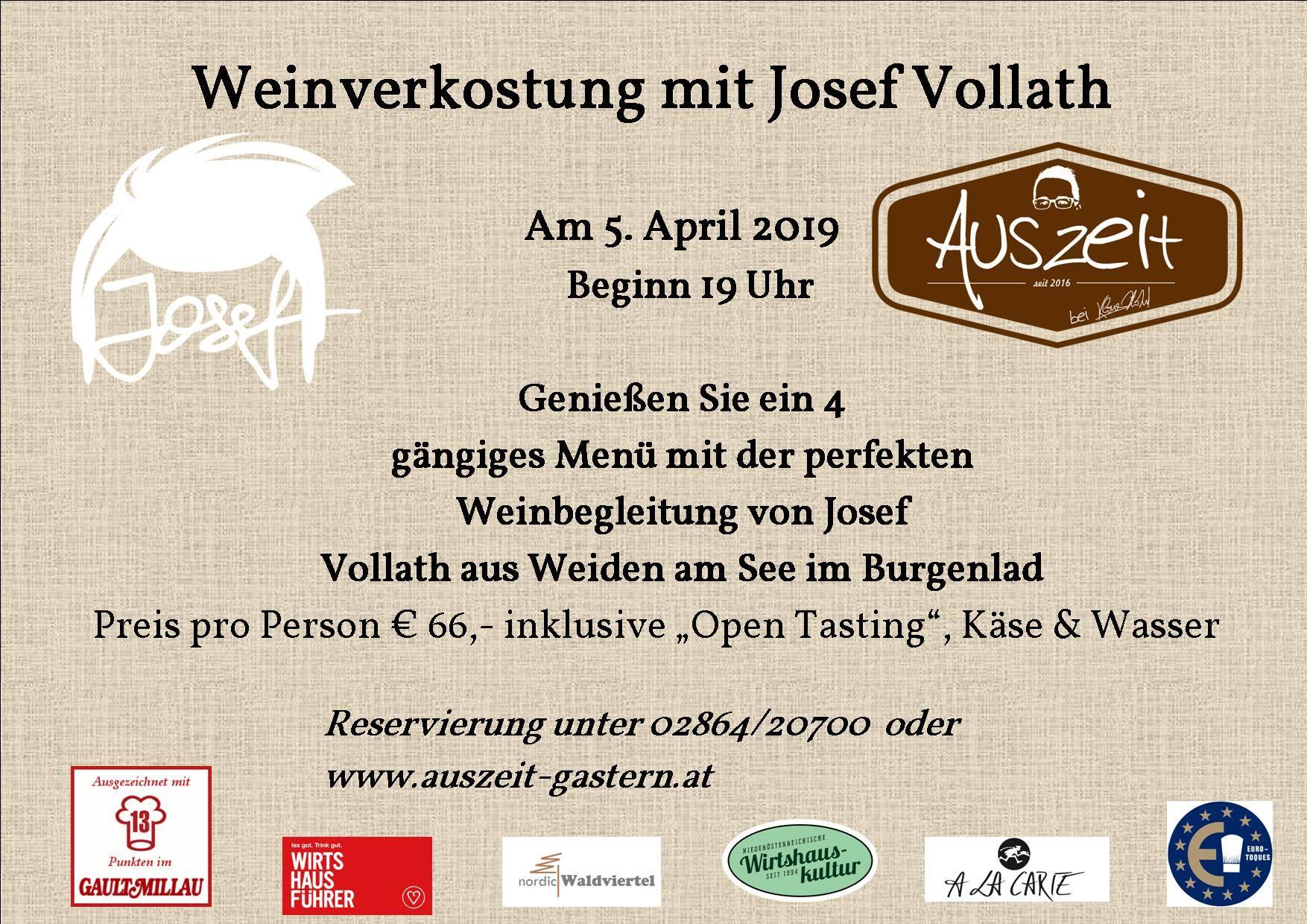 Josef Weinverkostung im Auszeit
